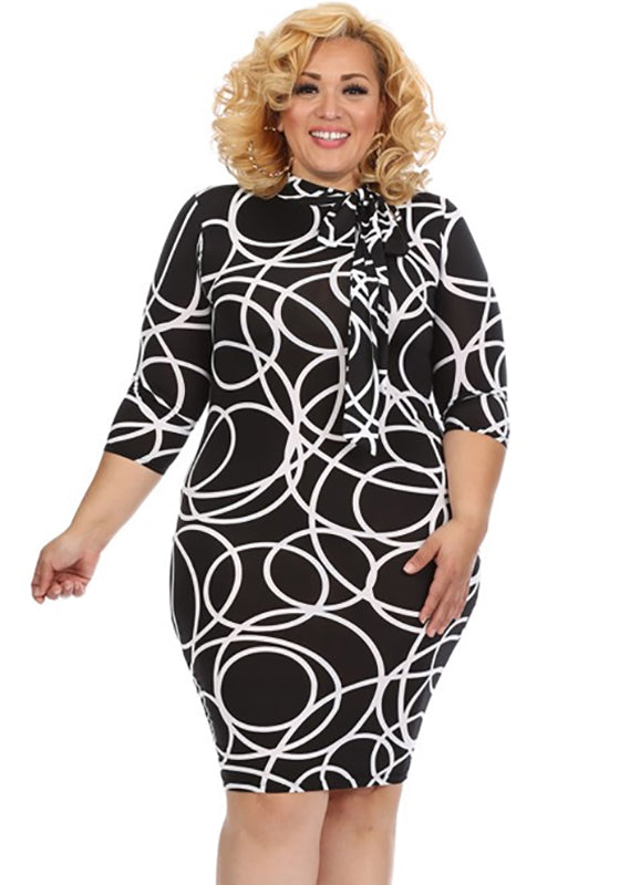 Plus Size black dress with White abstracted circles and mock neck with neck tie