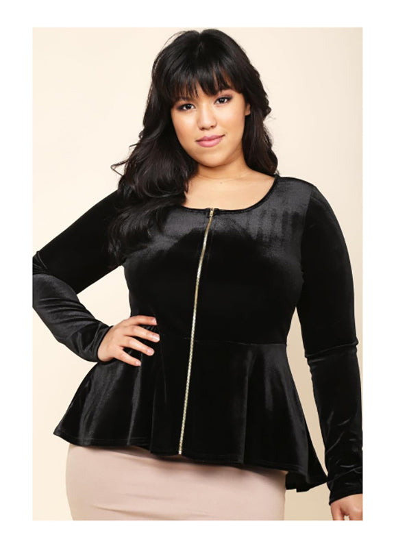 Plus Size Mika Velvet Peplum Top