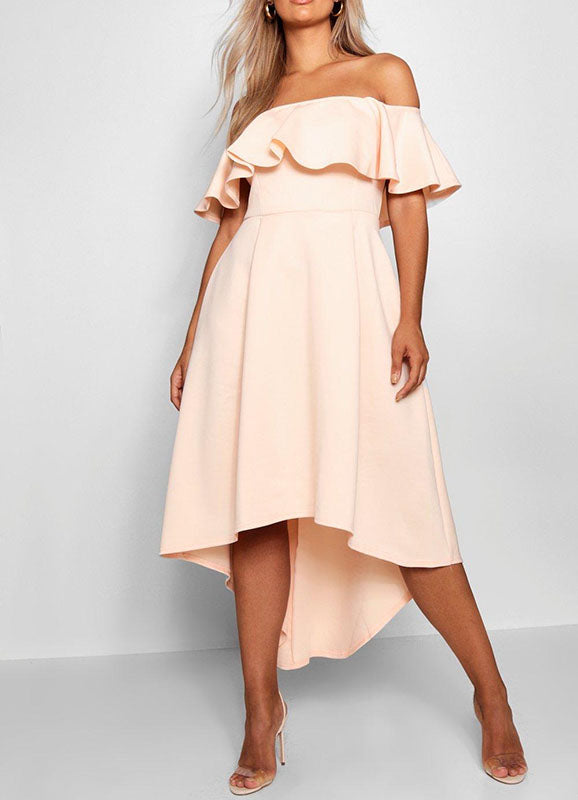 Pale Pink Off The Shoulder Dress - Size: 14