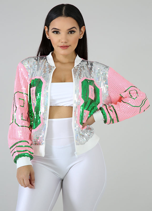NOT UR AVG CHIC - Pretti Sequins Jacket This pink, green, and silver 08 sequins jacket features, a stretchy fabric, round neckline, long sleeves, finished with a front zipper.