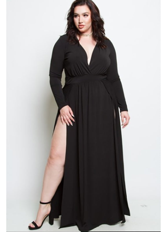 Plus Size Shawna V Neck Dress