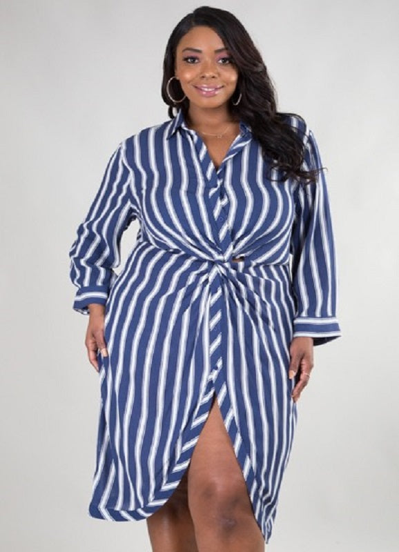 Not Ur Avg Curvy | Talia Button Up Stripe Mini Dress | Not Ur Avg Chic Boutique