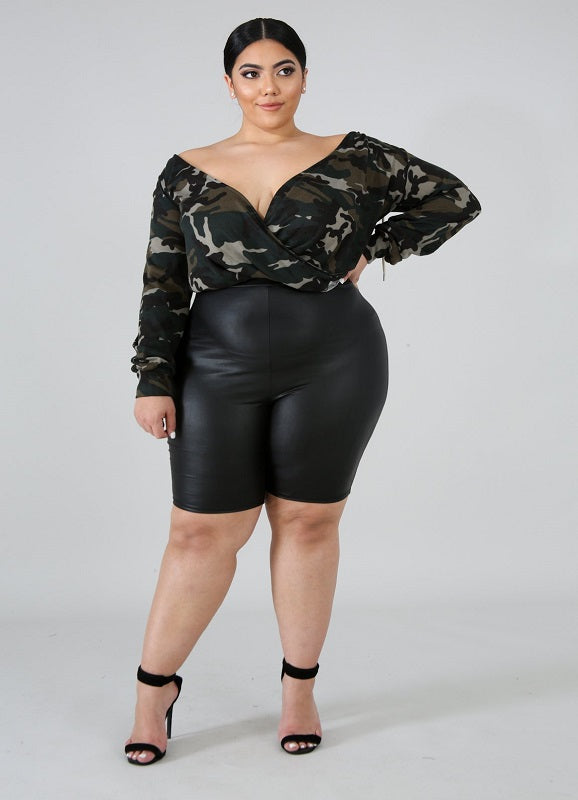 Not Ur Avg Curvy | Bianca Black Leather High Waist Biker Shorts | Not Ur Avg Chic Boutique