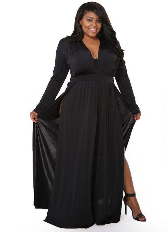 Plus Size V Neck Maxi Dress | Shawna | Not Ur Avg Chic Boutique