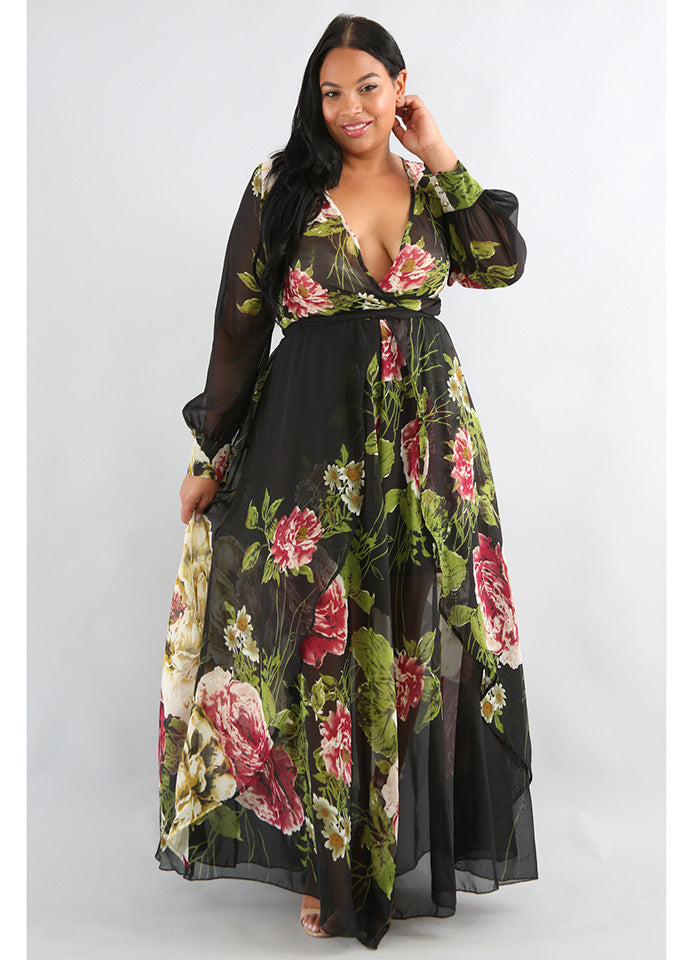 Plus Size Jasmine floral print sheer black maxi dress.