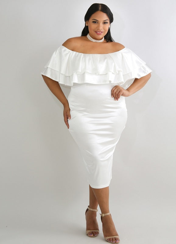 Not Ur Avg Curvy | Julie Silky Off Shoulder Dress | Not Ur Avg Chic Boutique