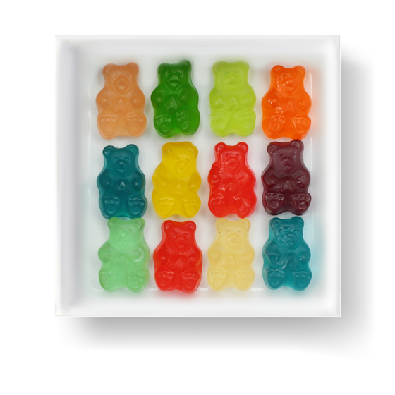 GLUTEN FREE MSG FREE FAT FREE DAIRY FREE 12 FLAVOR GUMMY BEARS CANDY CUBE