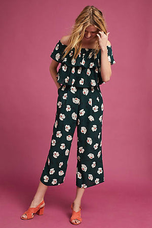 Women - Apparel - Jumpsuits/Rompers:J.O.A.:Floral Printed Off The Shoulder Jumpsuit:WKND threads