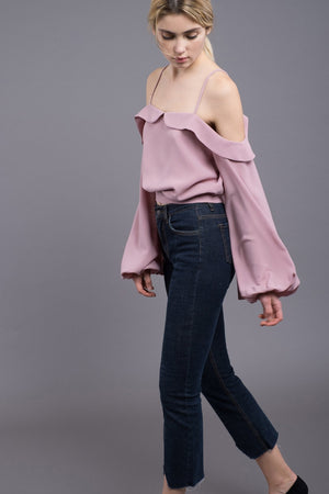 Women - Apparel - Jumpsuits/Rompers:J.O.A.:Cold Shoulder With Blouson Sleeve Top:WKND threads