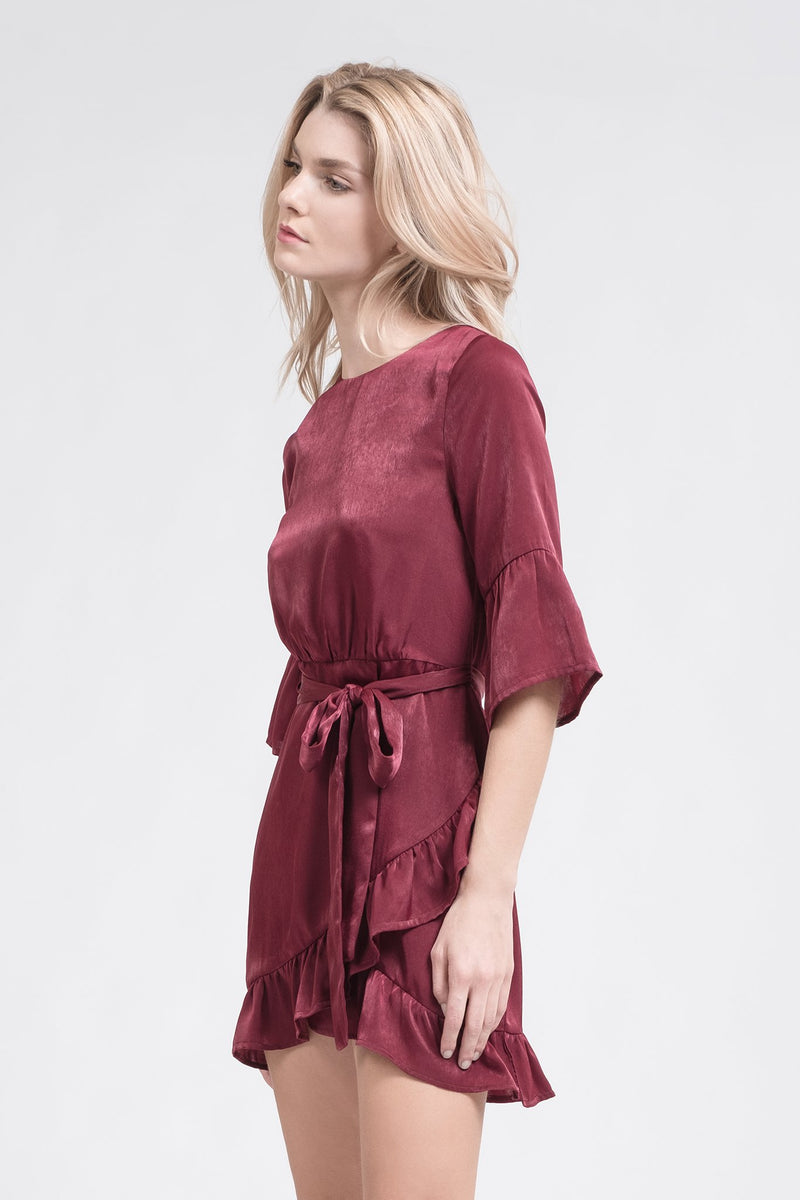 J.O.A.:Women - Apparel - Shirts - Blouses:Sienna Ruffle Dress:XS
