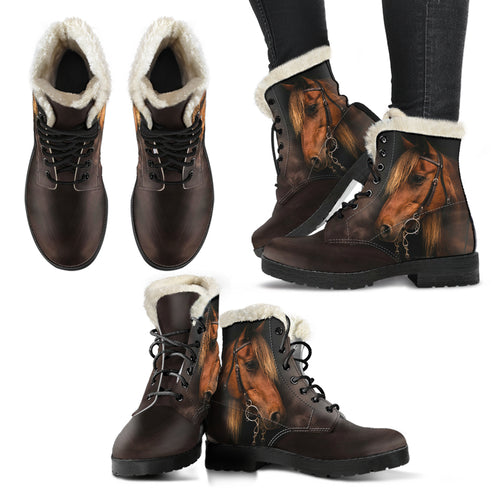 Horse Faux Fur Leather Boots Version 05