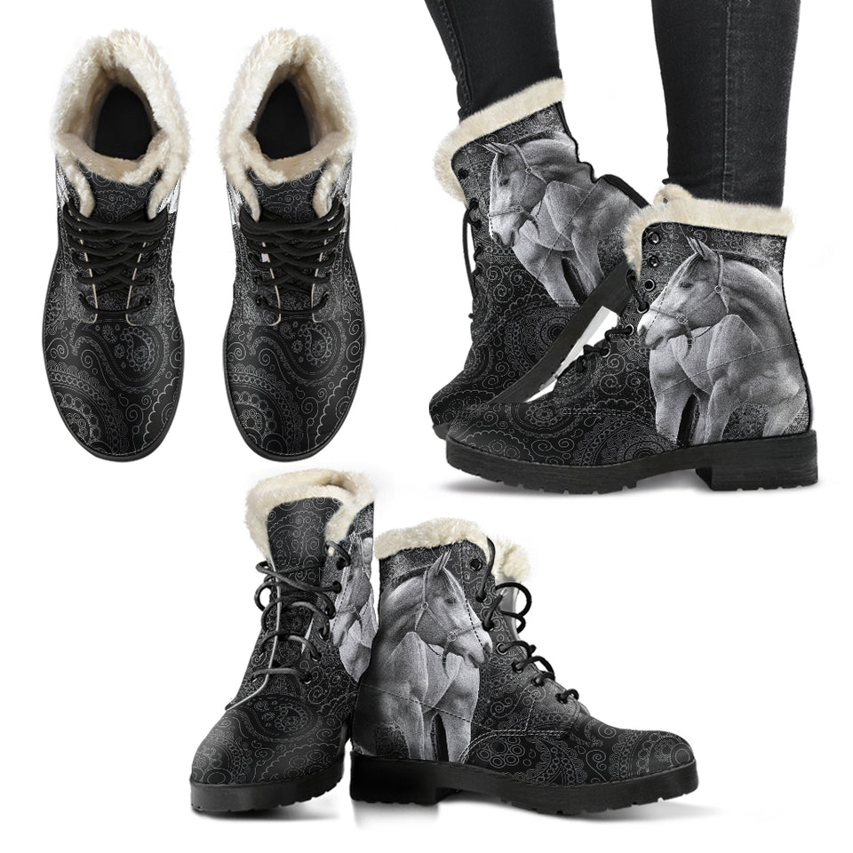 Horse Faux Fur Leather Boots Version 03