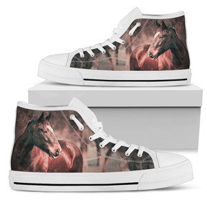 Horse Theme Women's High Top Canvas Shoes - WS1002W
