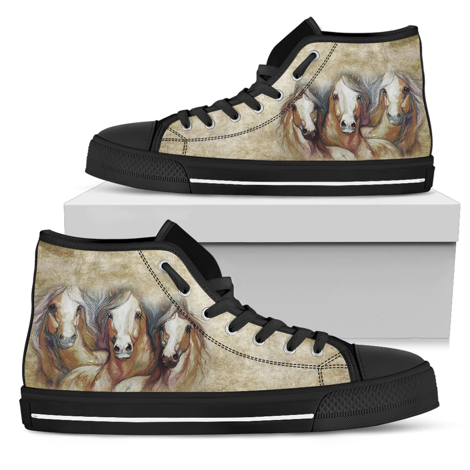 Horse Women's High Top Canvas Shoes - WS1012