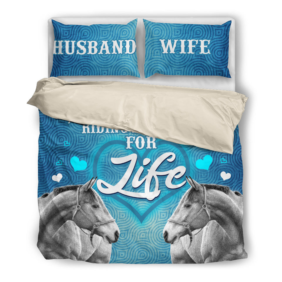 Husband & Wife - Riding Partners For Life Horse Theme Bedding Set - BDH003