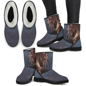 Horse Theme Women's Faux Fur Boots - FF1001