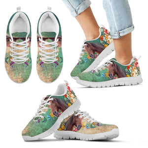 Horse In The Garden Kids Sneakers, KS1001 - FREE SHIPPING!