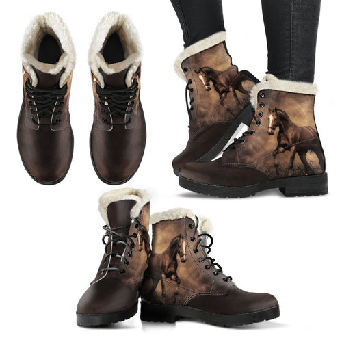 Horse Faux Fur Leather Boots Version 01