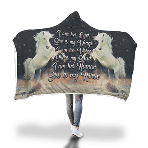 She Is My Horse Hooded Blanket