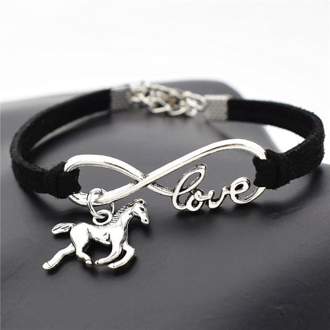 Fashion Silver Love Horse Charm Bracelets For Horse Lovers