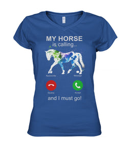 My Horse Is Calling Women's V-Neck