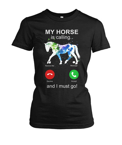 My Horse Is Calling Women's Crew Tee