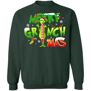 Merry Grinchmas  Crewneck Pullover Sweatshirt  8 oz.