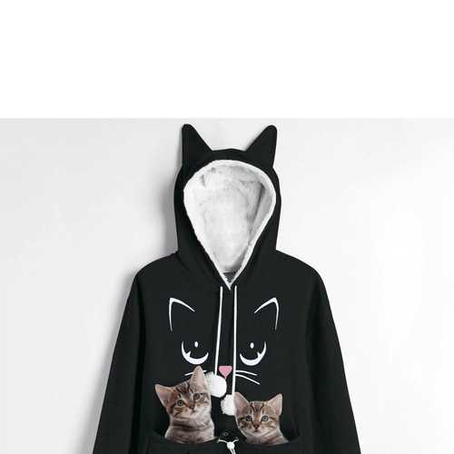 New Cat Hoodie With Pocket