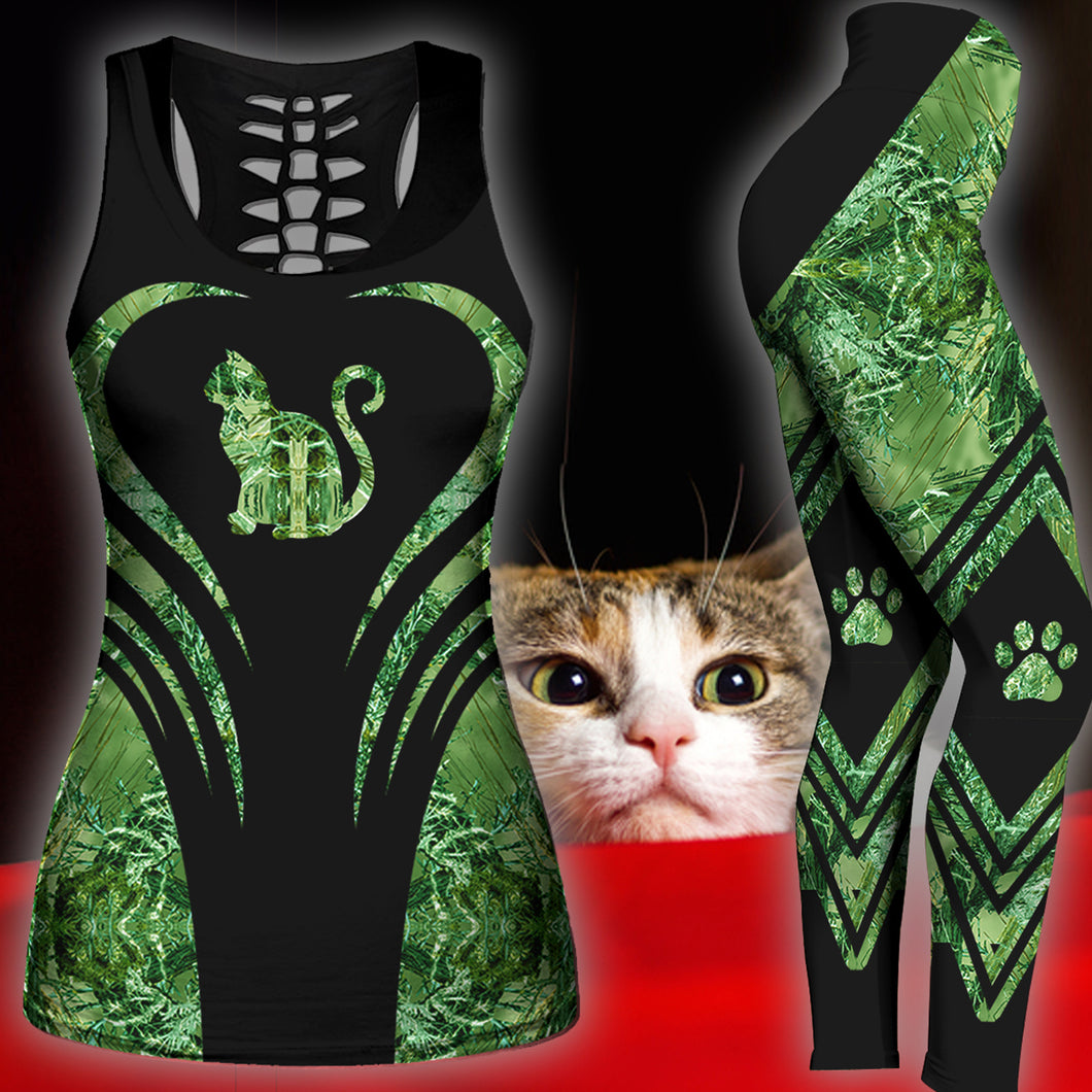 Woman Cat Tank Top And Legging Version 01