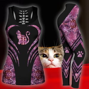 Woman Cat Tank Top And Legging Version 02