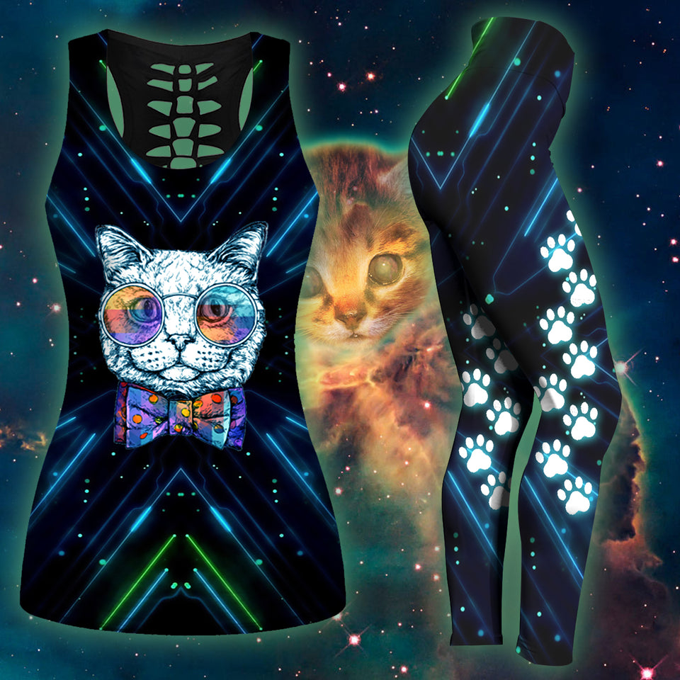 Woman Cat Tank Top And Legging Version 03
