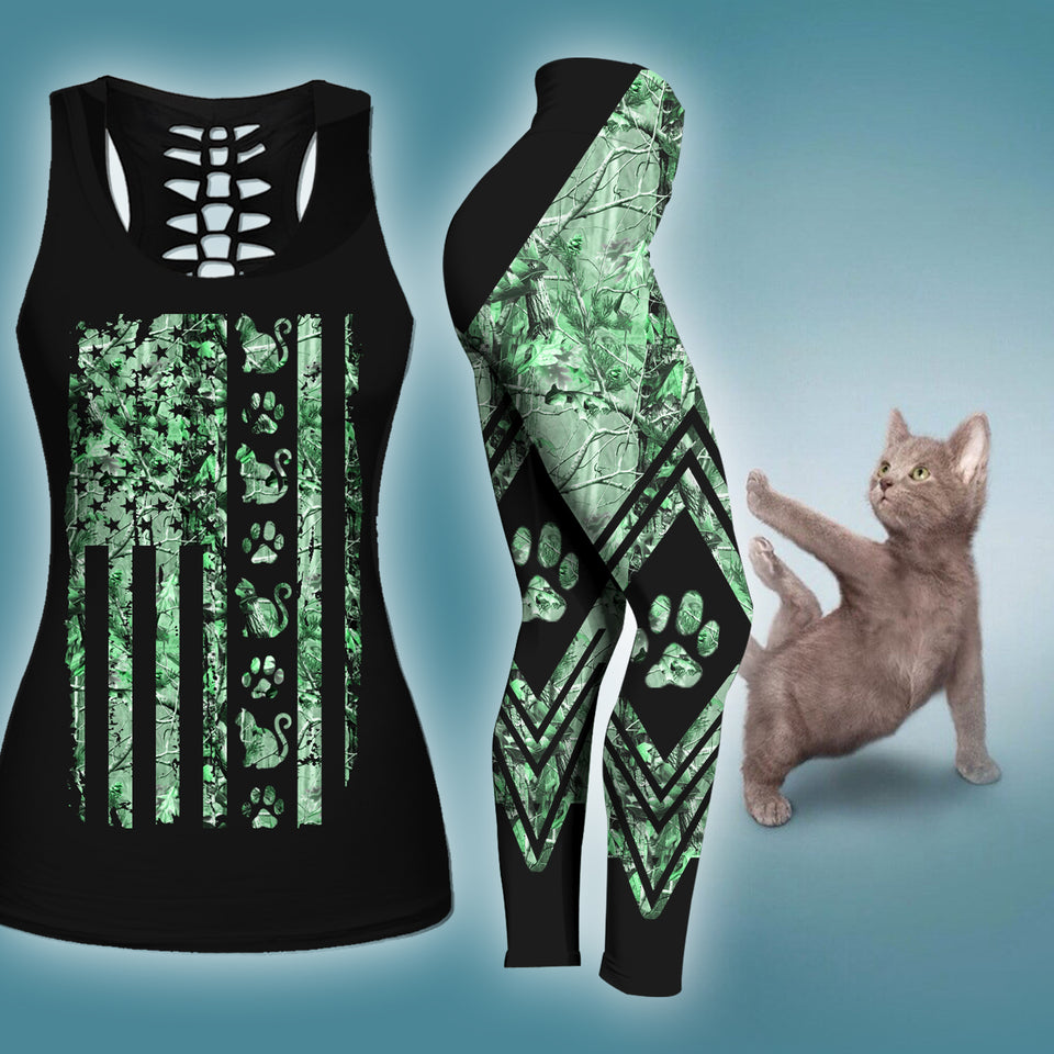 Woman Cat Tank Top And Legging Version 06