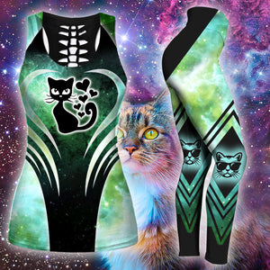 Woman Cat Tank Top And Legging Version 12