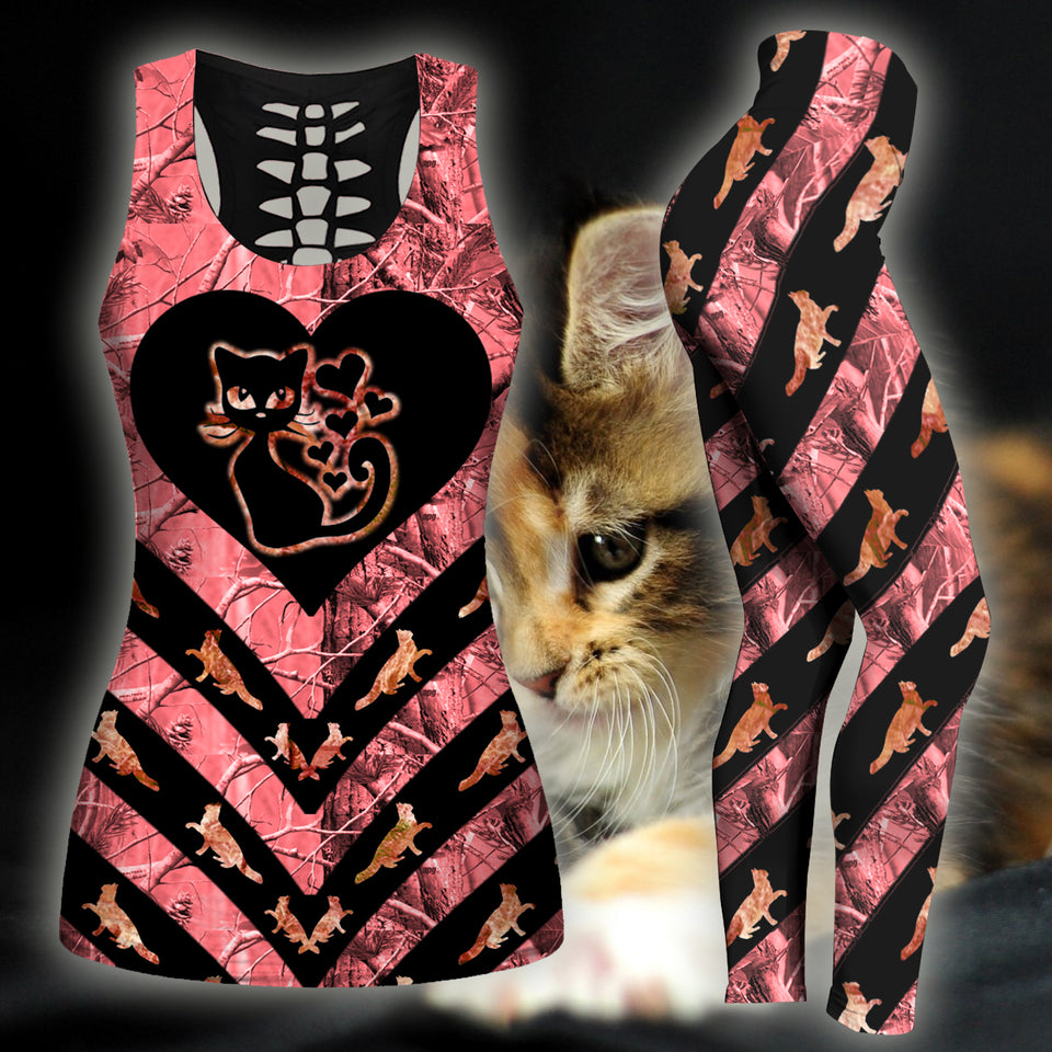 Woman Cat Tank Top And Legging Version 21