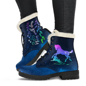 Horse & Dog Faux Fur Leather Boots Version 01