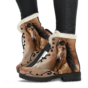Horse Faux Fur Leather Boots Version 02