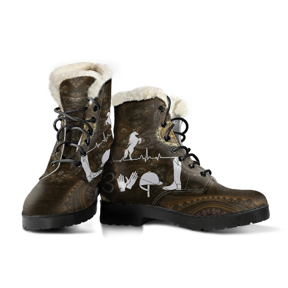 Horse Faux Fur Leather Boots Version 06