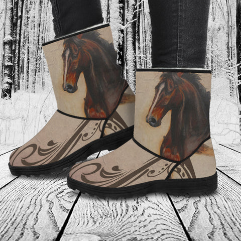 Horse Theme Version 2 Women's Faux Fur Boots - FF1002