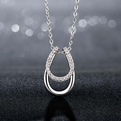 Lucky Rhinestone Double Horse Hoof Horseshoe Silver Plated Pendant Necklace