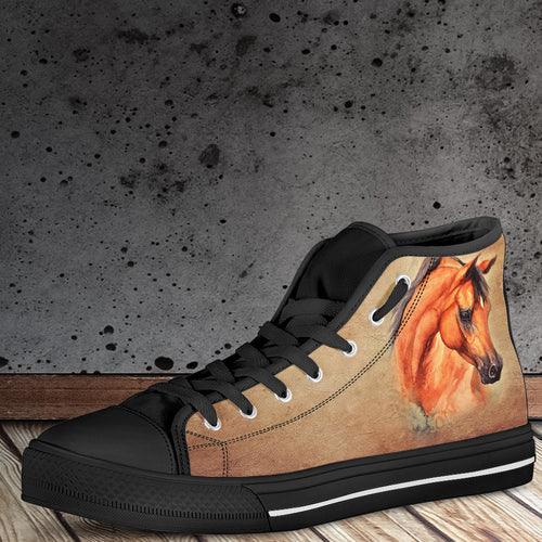 Horse Women's High Top Canvas Shoes - WS1011