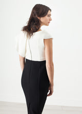 Asymmetric Dress in Cream/Black