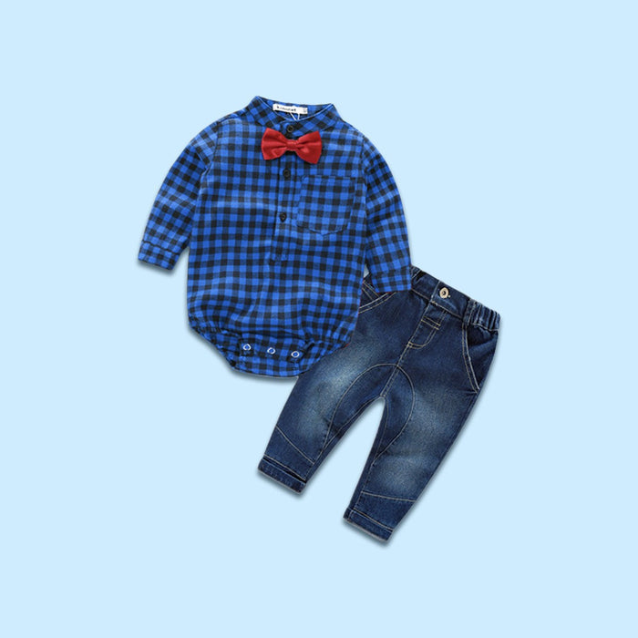 Dapper Dude Plaid Set in Blue