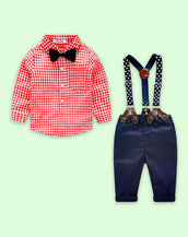 Nerdie Birdy Plaid and Suspenders Set