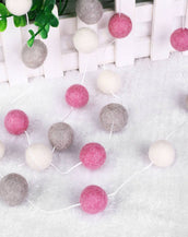DecaPom Wooly Balls in Pink and Gray