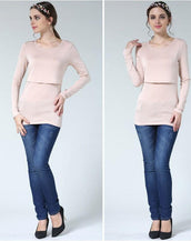Dabzee Maternity Top- Powder Pink