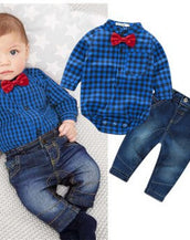 Mommy's Lil' Hottie- Blue Plaid Clothing Set