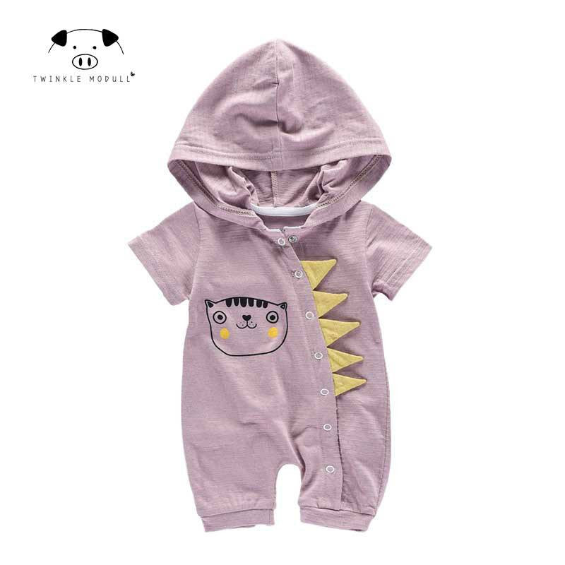 [Playful100] Newborn Baby baby jumpsuit Short sleeves summer hat Boys girls  Bodysuit  Baby Clothes MD170X074