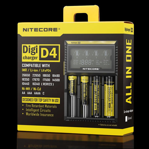 Nitecore Digcharger D4 LCD Charger For Li-Ion, Ni-Cd, Ni-mH Batteries