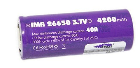 Efest *PURPLE* 26650 3500mAh with flat top high drain 64A battery