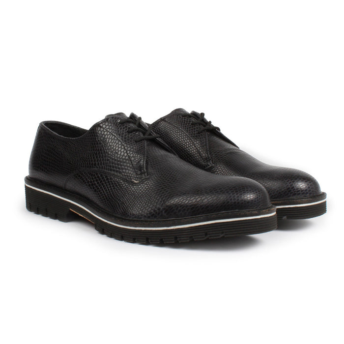 E-1402 | Lace-Up Brogue | Black Grey